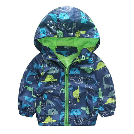 Kids Baby Boys Hooded Zipper Cartoon Print Jacket Toddler Coat Outerwear