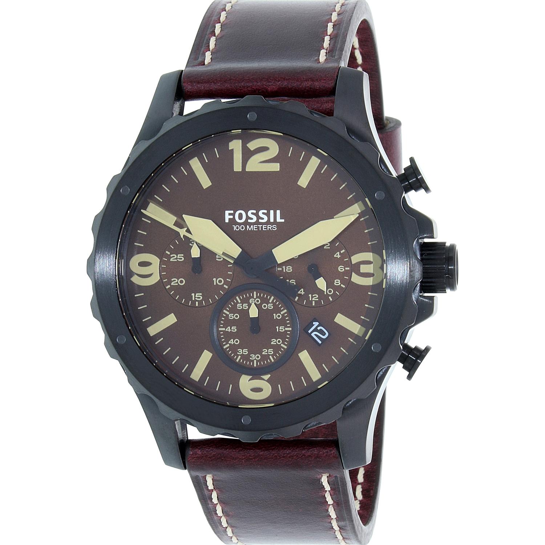 Fossil Men's Nate JR1502 Red Leather Quartz Watch