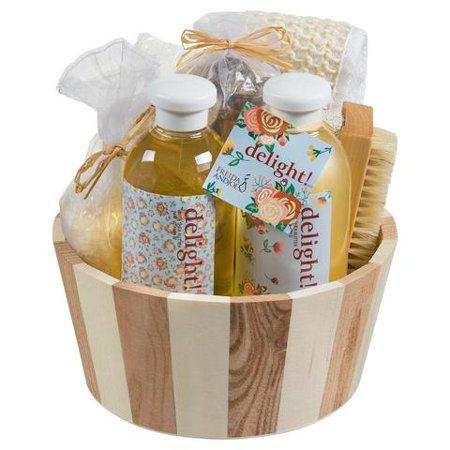 Bath, Body, and Spa Gift Set Basket with Reflexology Kit for Women, in Floral Delight Fragrance, Complete Relaxation and Skincare Essentials with Shea Butter and Vitamin E to Nourish Skin Bath Chocolate Gift Basket
