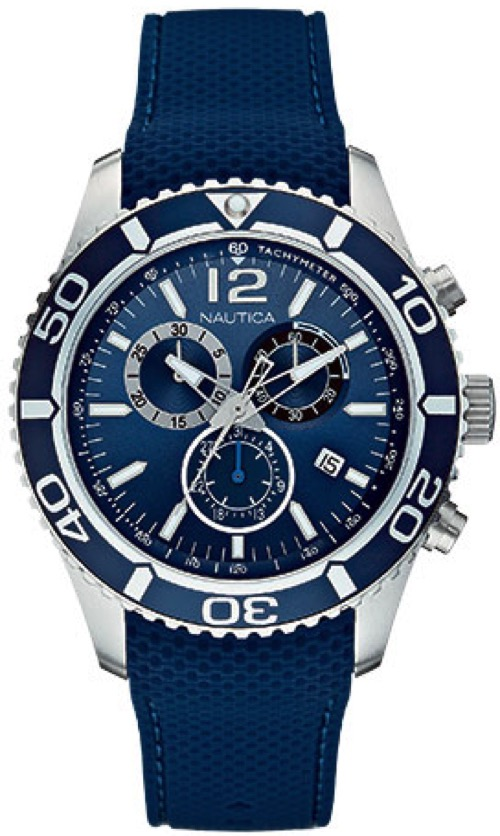 Men's Blue Nautica Blue NST 09 Chronograph Watch N15103G by Nautica