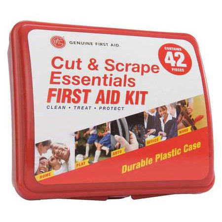GENUINE FIRST AID 9999-2309 First Aid Kit, Plastic Case, Industrial, 42 Pcs., 2