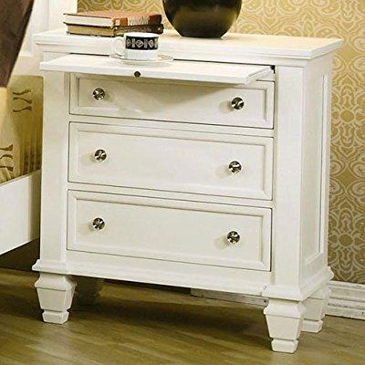 Coaster Furniture nightstand with pull out tray in white ...