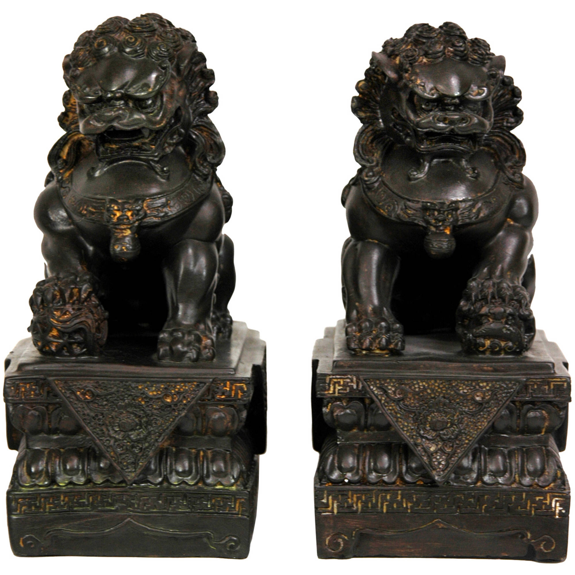 "9"" Foo Dog Statues (Set of Two"