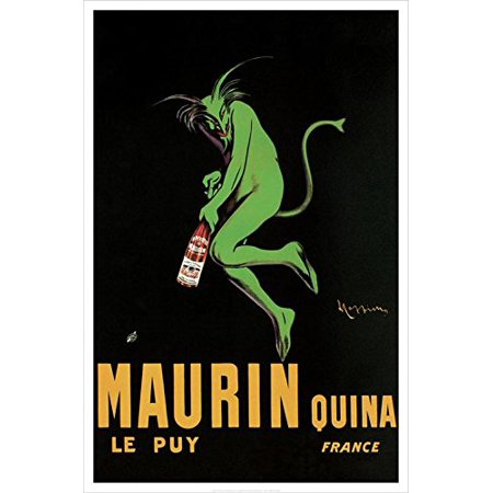 Maurin Quina Le Puy 1906 Leonetto Cappiello 36x24 French Vintage Art Print Poster Advertising Green Devil..., By HUNTINGTON GRAPHICS Ship from (Huntington Hanging)