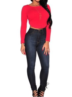 675ce5e0433ea5 Product Image Womens High Waist Denim Skinny Jeans Stretch Slim Fit Casual  Long Pencil Pants Leggings