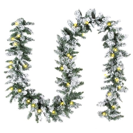 Best Choice Products 9ft Pre-Lit Snow Flocked Festive Artificial Christmas Garland Holiday Decoration with 100 Clear LED Lights, Green ()