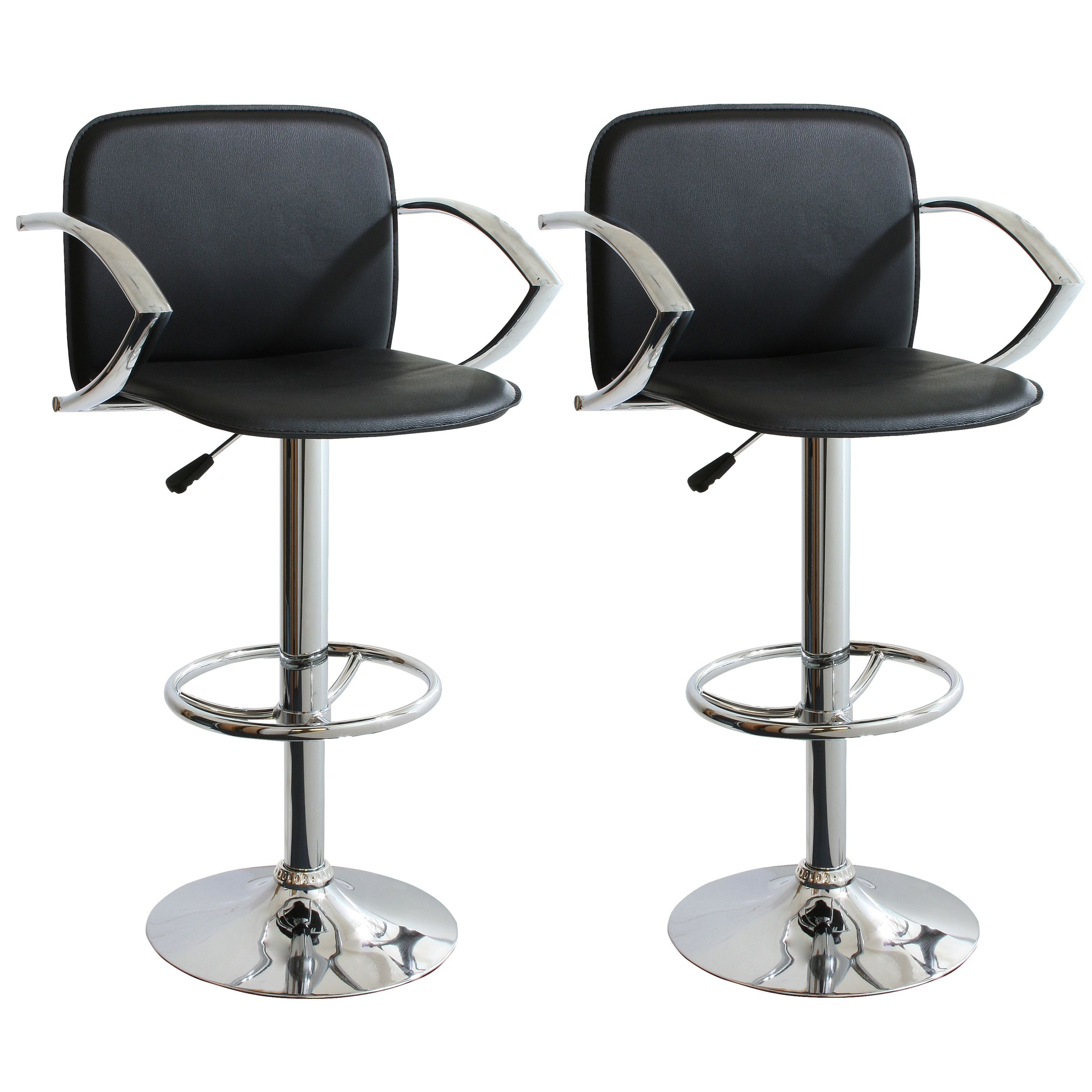 Classic Traditional 2 Piece Adjustable Height Black Bar Stool Retro Style