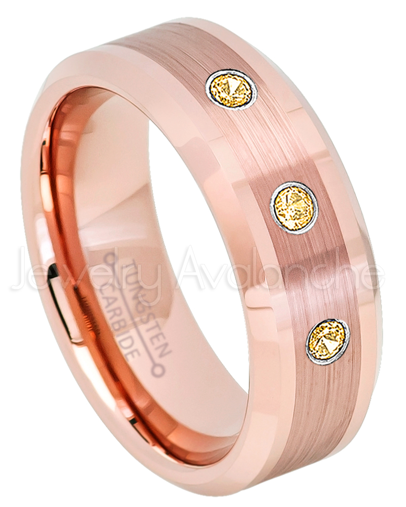 Rose Gold Plated Tungsten Ring - 0.21ctw Citrine 3-stone Band ...