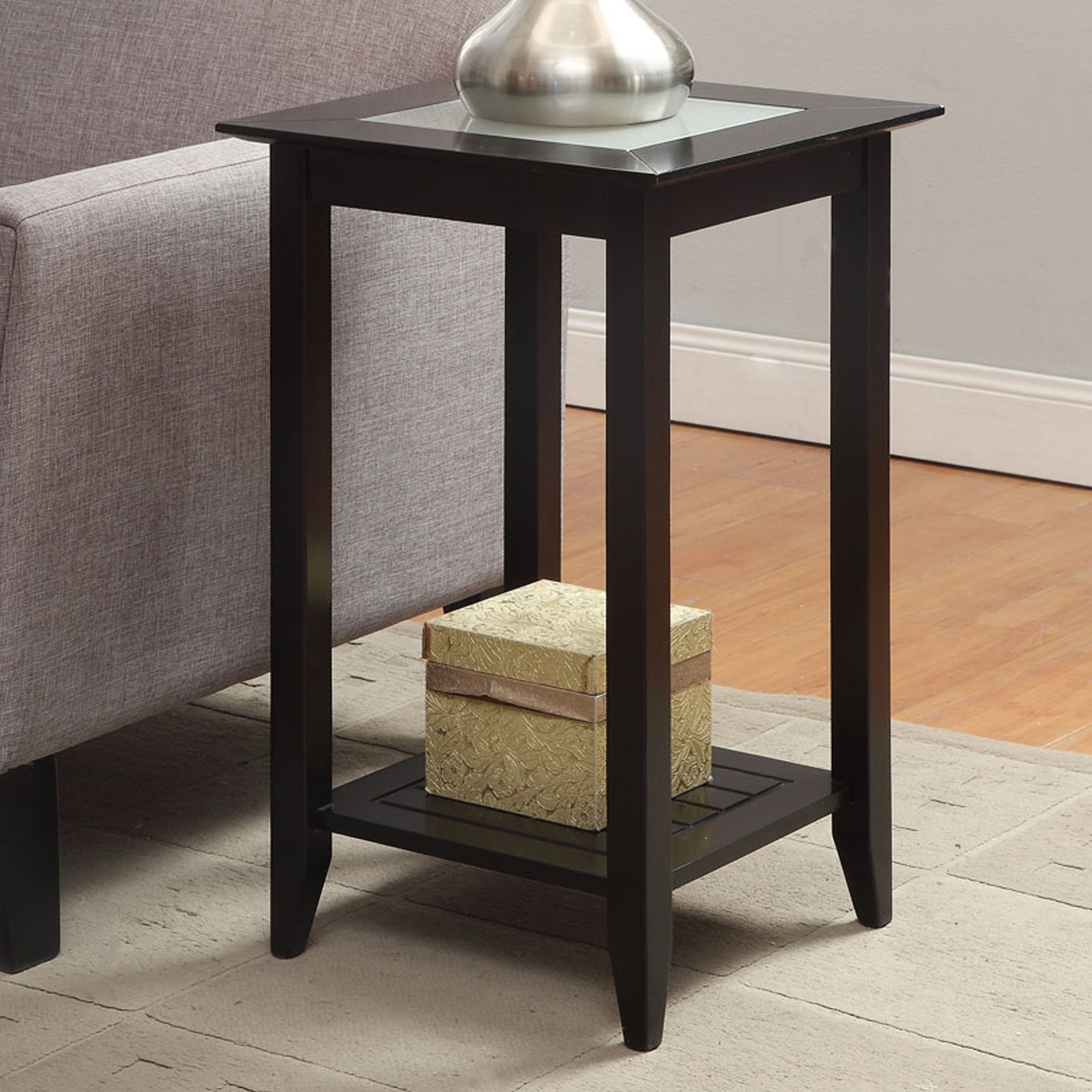 Convenience Concepts Carmel Square Wood and Glass End Table with