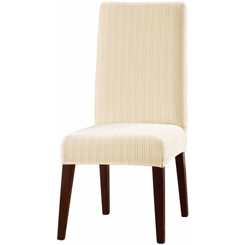 Sure Fit Stretch Pinstripe Short Dining Room Chair Slipcover   Walmart.com