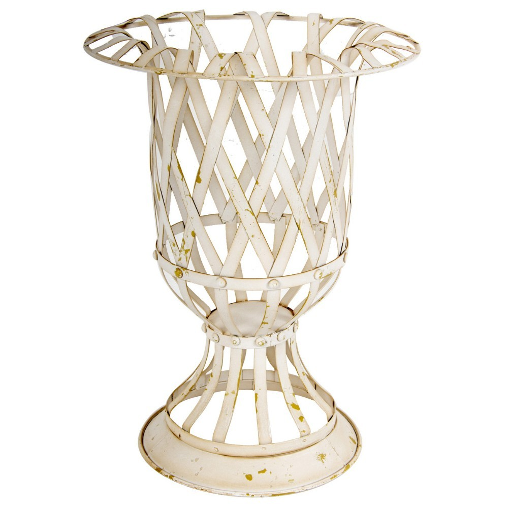 Rustically Charmed Small Metal Lattice Urn, White by Benzara