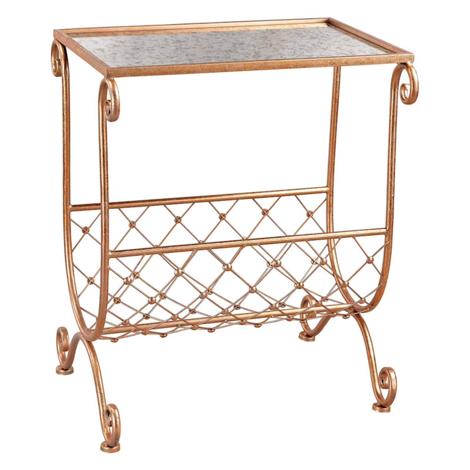 Sterling Copper Side Table with Magazine Rack by Sterling