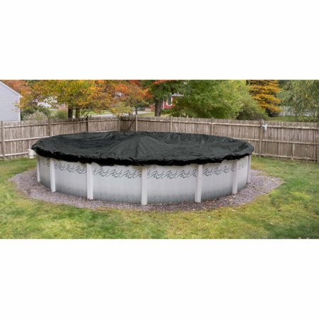 Heavy-Duty Black Mesh 12-Year Winter Cover for Round Above Ground Swimming Pools
