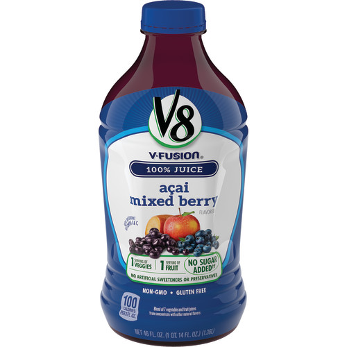 V8 V-Fusion 100% Vegetable & Fruit Juice, Acai Mixed Berry, 46 Fl Oz, 1 Count