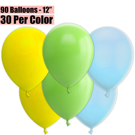 12 Inch Party Balloons, 90 Count - Yellow + Lime Green + Baby Blue - 30 Per Color. Helium Quality Bulk Latex Balloons In 3 Assorted Colors - For Birthdays, Holidays, Celebrations, and More!!](Helium Balloons With Led Lights)