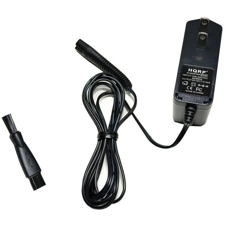 HQRP AC Adapter fits Braun Series 7 Model 740s-6 Type 5697 Shaver Charger Power Supply Cord + Cleaning Brush