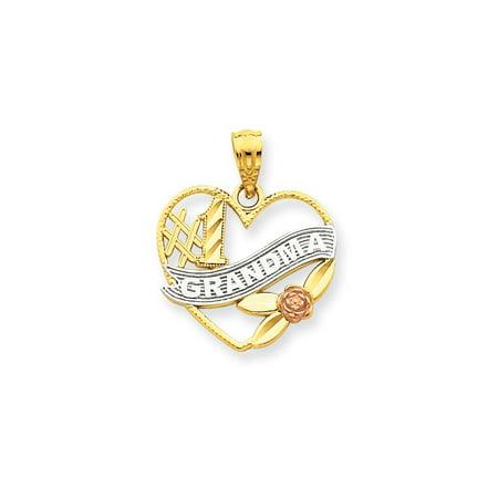 14 Karat Two-Tone Gold #1 Grandma Heart Pendant 1 Cameo Pendant Necklace