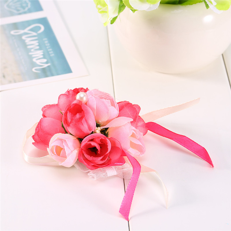 Pack of 2 Girls Bridesmaid Wedding Wrist Corsage Bracelet Prom Party Hand Flowers Decor(Rose Red)