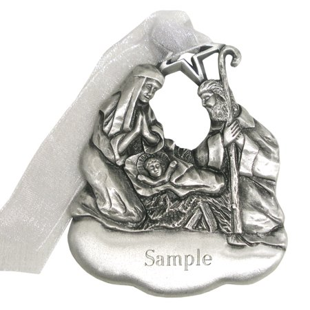 Personalized Pewter Nativity Christmas Ornament