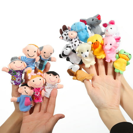 16pcs Animal Plush Finger Puppets Set for Children, Story Time, Shows, Playtime, Schools
