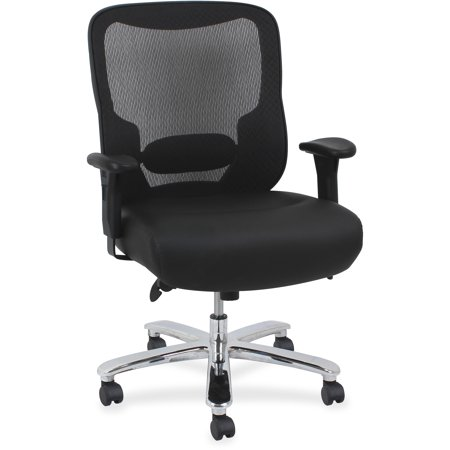 lorell big tall mid back ergonomic leather task chair mesh back