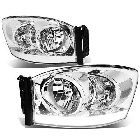 For 2006 to 2009 Dodge Ram 1500 / 2500 LED DRL Light Bar Headlights Chrome Housing Clear Corner Headlamp 07 08 Left+Right