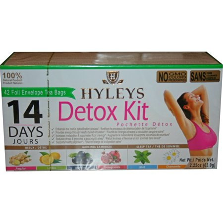 Hyleys 14 Days Detox Kit - Detox, Slim, Sleep Tea Set 42 Foil Envelope Tea - Personalized Tea Tins