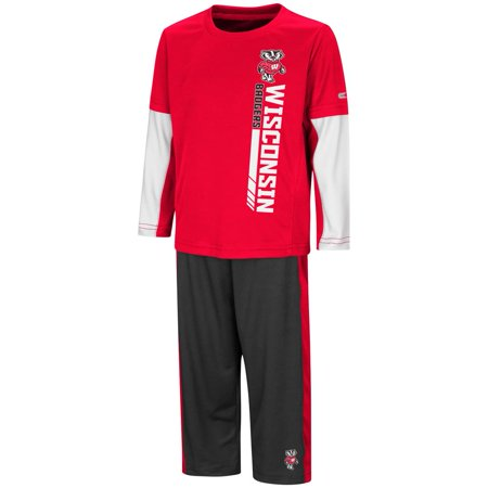 University of Wisconsin Badgers Toddler Boy's Long Sleeve Shirt/Pant Set - Badger Outfit