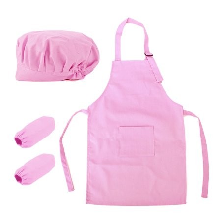 Hot Pink Apron ((Price/2 Sets) Opromo Colorful Cotton Canvas Kids Apron, Chef Hat and Oversleeve Set, Party Favors(S-XXL)-light pink-M)