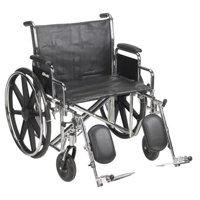 "24"" Bariatric Wheelchair, Steel Frame, Black, Detachable Desk Arm, Swing Away Elevating Leg Rest, 450 Lb. Capacity"