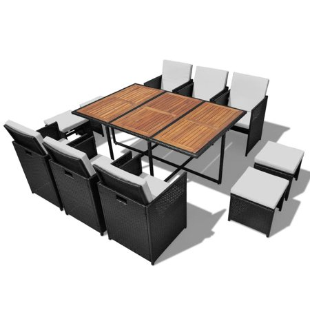 Zaqw Outdoor Dining Set 27 Pieces Black Poly Rattan Acacia Wood