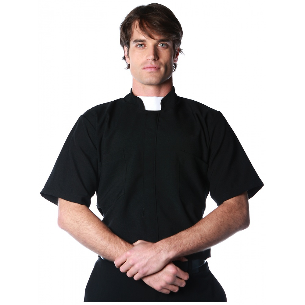 Short Sleeve Priest Shirt Adult Costume - X-Large