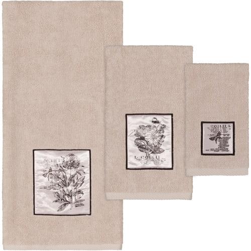 SketchBook 3-Piece Cotton Bath Towel Set, Beige