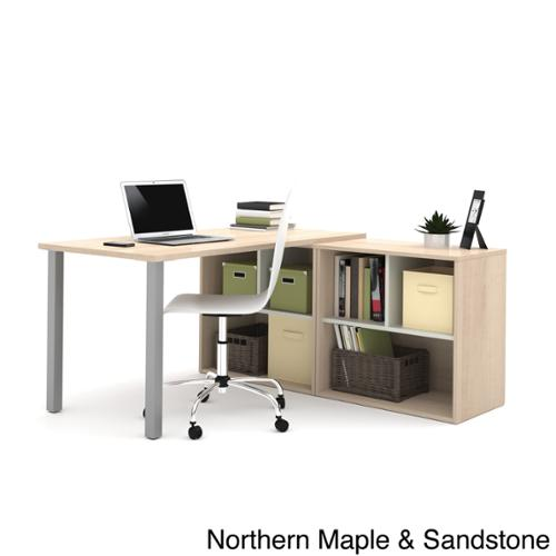 i3 by Bestar L-shaped Desk with Open Storage Unit Northern Maple & Sandstone