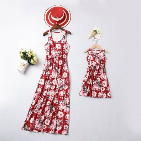 3e33cc737f50 One opening - Summer Family Matching Dress Mother And Daughter Women Girl  Floral Maxi Dresses Outfits - Walmart.com