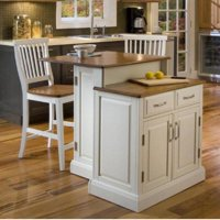 Woodbridge White Two Tier Island and Two Stools