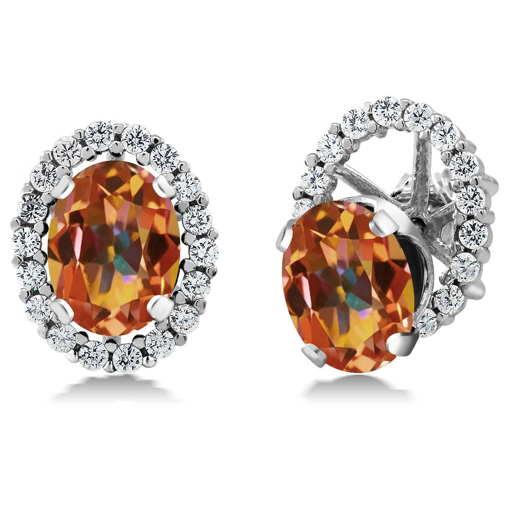 3.72 Ct Oval Ecstasy Mystic Topaz 925 Silver Stud Earrings with Jackets