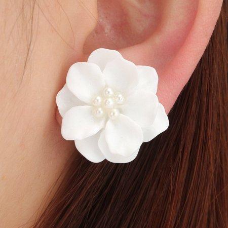 Charming Pearls Flower (Fashion Jewelry White Imitation Pearl Flower Stud Earrings )