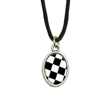 Checkered Racing Flag Oval Charm - Checkered Racing