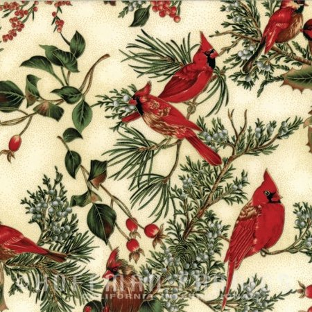 Cardinal Carols~Natural/Gold Christmas Cotton Fabric by Hoffman
