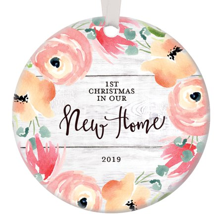 Housewarming Gifts New Home 2019, Dated 1st Christmas In Our New House Christmas Ornament Decoration Flower Bloom Ceramic 3