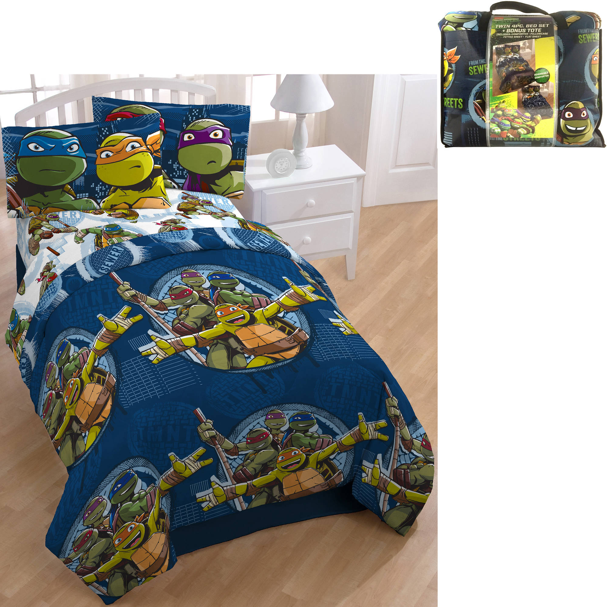 Nickelodeon Teenage Mutant Ninja Turtle Bed in a Bag 5 Piece Bedding Set with BONUS Tote