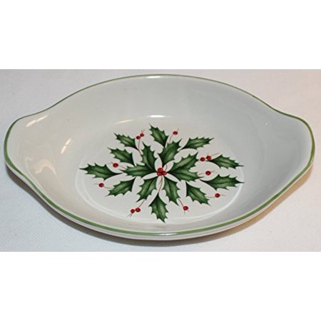 Lenox American by Design Holiday Mini Appetizer Au Gratin Dish with Handles Ceramic Appetizer Shell Dish