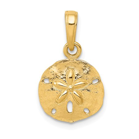 14k yellow gold polished sand dollar pendant for What is gold polished jewelry