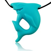 Shark Pendant Silicone Necklace for Teething Babies and Kids | Gender Neutral Baby Teething Necklace | Sensory Teether Pendant To Soothe Gums (Sharky)