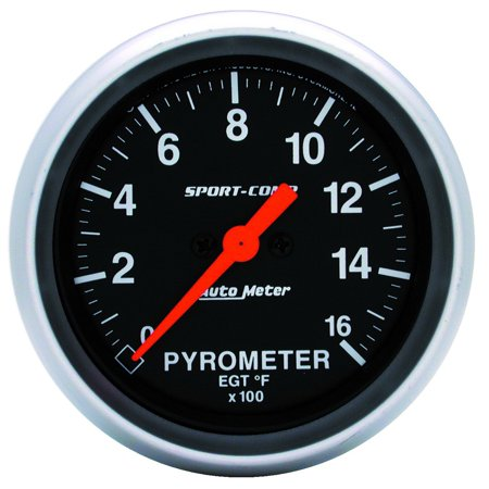 AutoMeter 3544 Sport-Comp Electric Pyrometer Gauge Kit; 2-5/8 in.; Black Dial Face; Fluorescent Red Pointer; White Incandescent Lighting; Electric Digital Stepper Motor; 0-1600 Degree F;