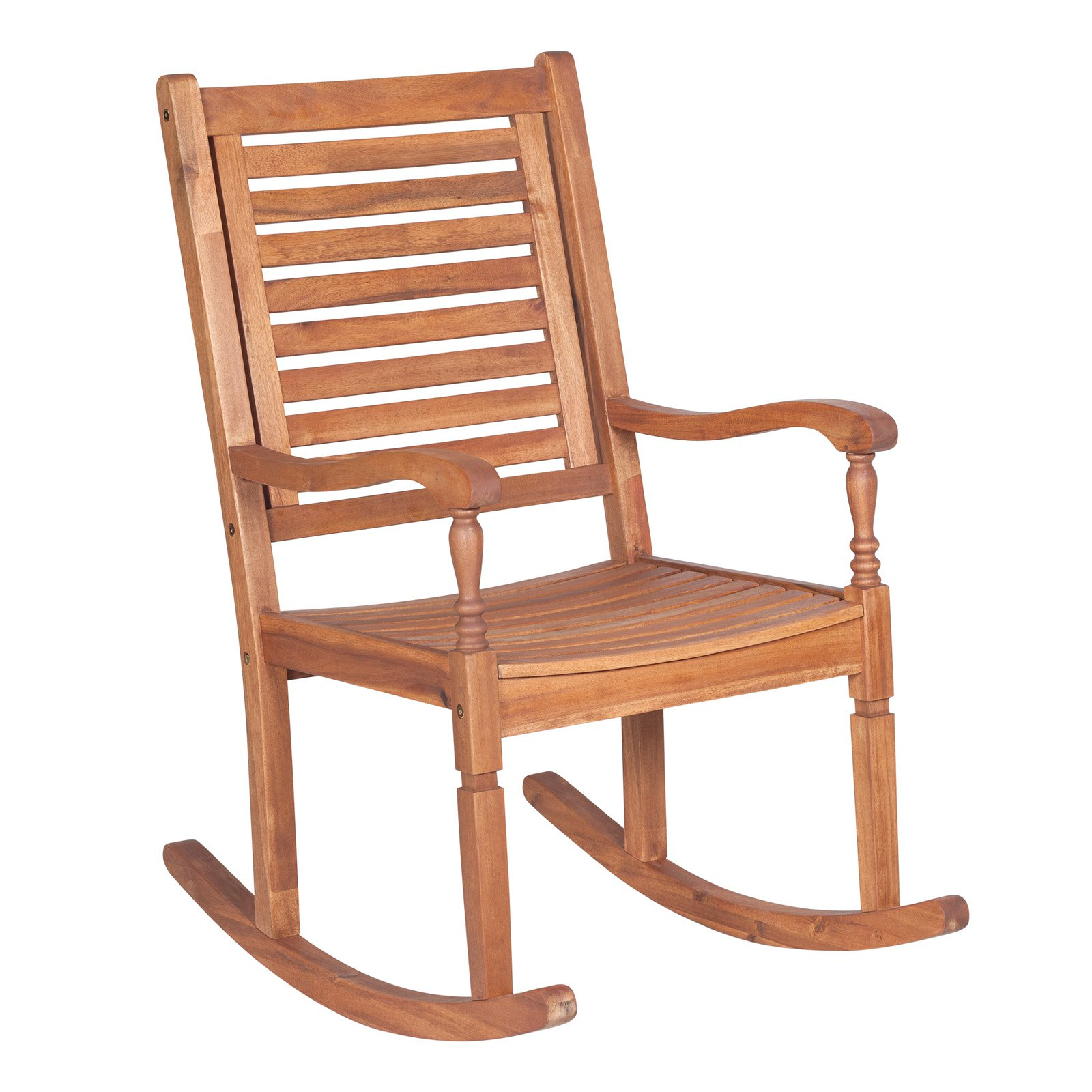Walker Edison Acacia Wood Rocking Patio Chair