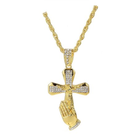 Praying Hands Jesus Cross Goldtone Anti-Tarnish Christian Crucifix with Handset Crystal Stones - Handset Stones