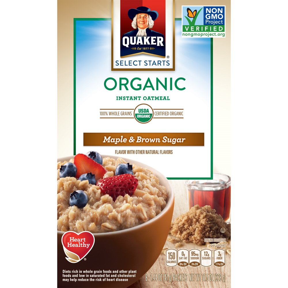 Quaker Select Starts Organic Instant Oatmeal, Maple & Brown Sugar, 8 Count, 1.44 oz Packets