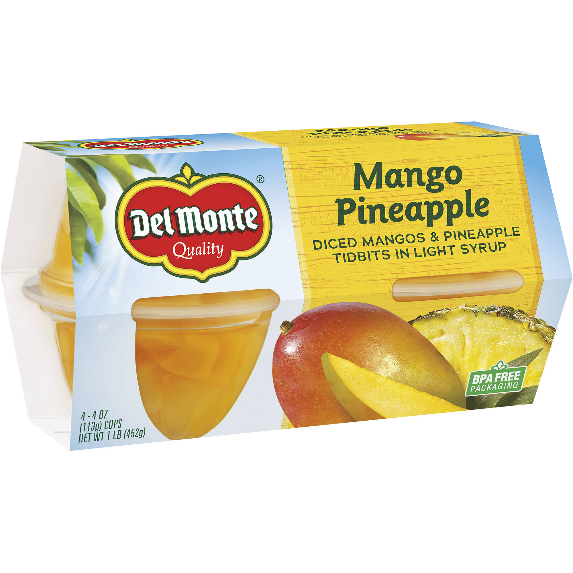 Del Monte Mango Pineapple Tidbits in Light Syrup Cups, 4 oz, 4 ct